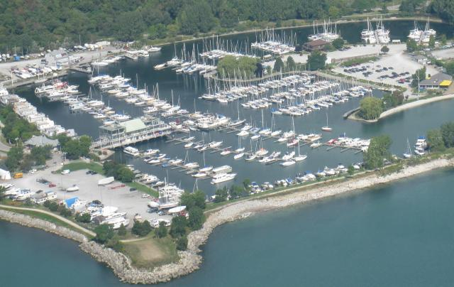 aerial view of the boat slips available for rent at Bluffers Park Marina, Toronto's only full service marina