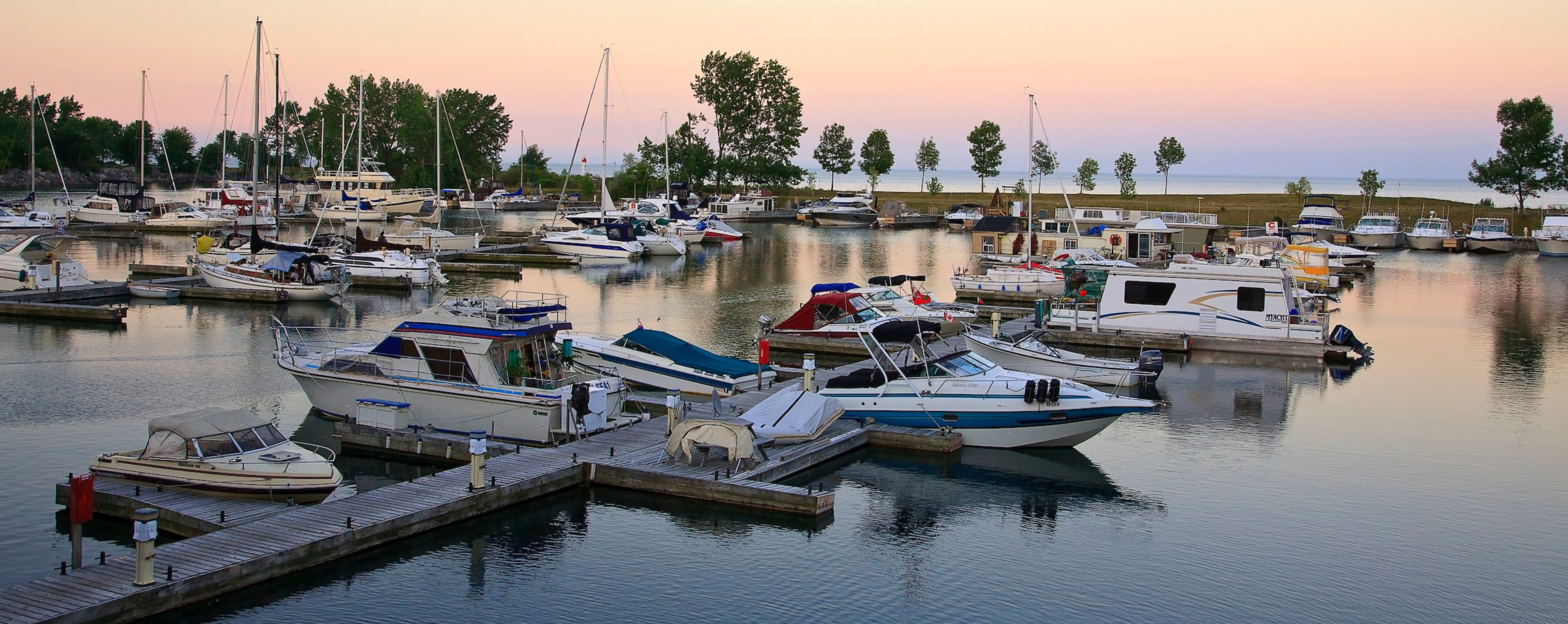 The docks at Bluffers Park Marina is Toronto's only full service marina at sunset.