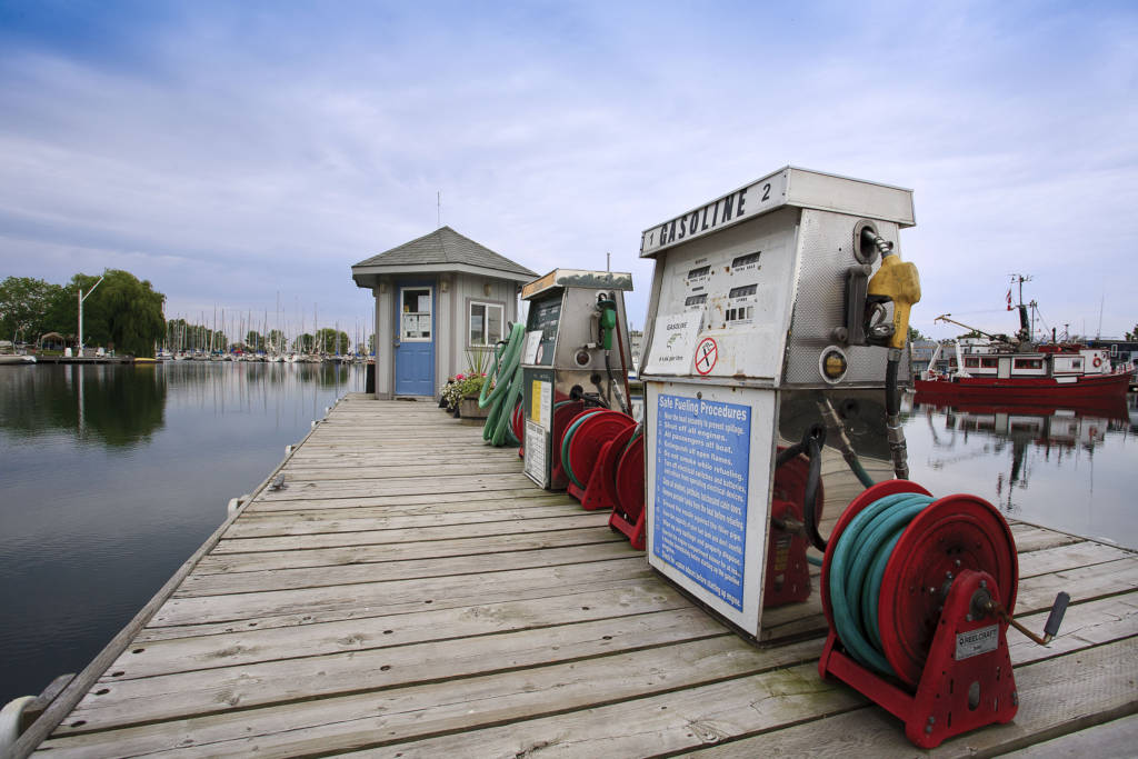 the fuel dock at Bluffers Park Marina, Toronto's only full-service Marina